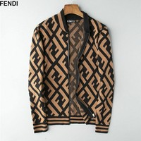 Fashion FENDI FF Wool Jacket Outwear Unisex