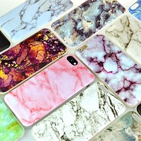 For iPhone 5 5s/SE/6 6s/7 7Plus Case Marble Pattern Soft Flexible TPU Slim Case Cover Cell Phone Cases