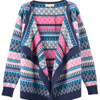 Blue Open Front Geo Patterned Cardigan - Choies.com