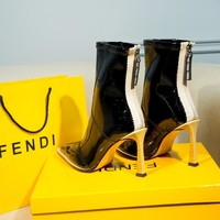 FENDI womens 2020 new office Logo-embossed leather Fashion Sports Elastic Stocking Ankle Short Boots high heels shoes black
