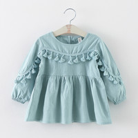 new 2016 spring autumn tassel baby dresses girl clothes casual toddler girls party dress suit 2~7 age newborn dress for girls
