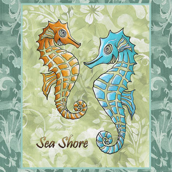 Coastal Sea Horse Painting Whimsical Damask Pattern Sea Shore Painting by Megan Duncanson - Coastal Sea Horse Painting Whimsical Damask Pattern Sea Shore Fine Art Prints and Posters for Sale