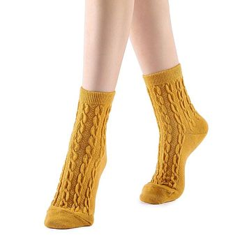 Bella Cable Knit Wool Crew Sock | Yellow