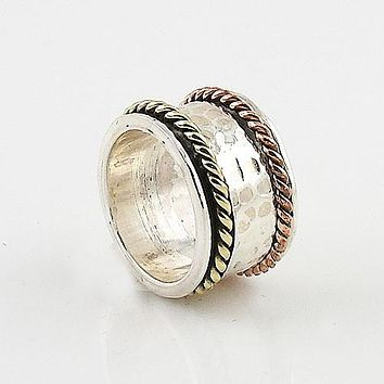 Spinner Ring Three Tone Hammered & Rope Design