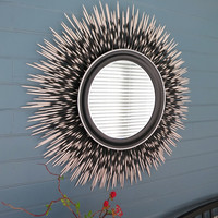 """32 inch """"Porcupine Quill"""" Mirror: White Tip with Black Frame and Silver Accent Border"""