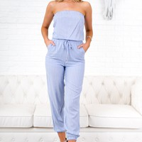 This Is Magic Striped Jumpsuit (Light Blue)