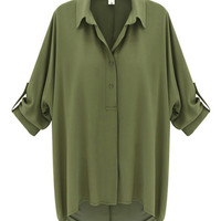 Roll Sleeve Chiffon Shirt with Button