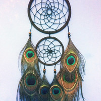 Brown faux suede trim double peacock dream catcher, black web 10cm & 7cm diameter dreamcatcher hand made