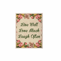 "NL Designs ""Live, Love, Laugh"" Floral Typography KESS Naturals Canvas (Frame not Included)"