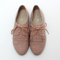 BN Womens Shoes Classics Dress Lace Ups Pointed Toe Oxfords Flats Purple & Pink