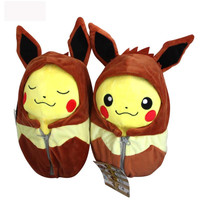 2pcs/lot Pikachu Plush Toy 20cm Pokemon Pikachu Cosplay Eevee in Sleeping Bag Stuffed Plush Toys Doll Soft Toy Gift With Tag