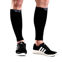 Calf Compression Sleeve - Shin Splints & Calves Pain Relief - Leg Compression Sleeves for Women Men - Support Socks for Running Cycling Basketball Baseball Tennis - Helps Recovery Faster Black
