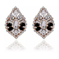 Casual Rhinestone Alloy Faux Crystal Oval Earring