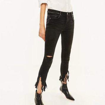 Rock and Roll Rivet Hole Ripped Jeans