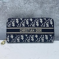 Christian Dior embroidered letters long clutch zipper wallet Bag