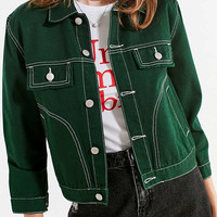 UNIF Woody Green Denim Jacket | Urban Outfitters