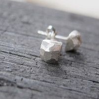 Post stud contemporary  silver earrings, Sterling Silver Studs, Sterling silver Earrings , raw studs nugget studs