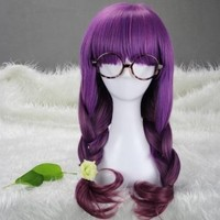 "Kamo 26"" Wavy Gradient Purple Brown Flat Bang Lolita Costume Cosplay Wig"