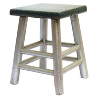 Madera Home, Corie Elm Stool, Silver/Blue, Standard Stools