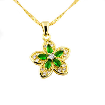 Gold plated floral emerald crystal necklace