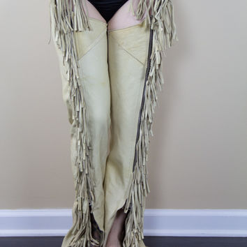 Cream Cowgirl Leather Chaps