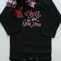 Bling In The New Year Baby Girls Bodysuit and Over the Top Bow - Embroidered Boutique Clothing - First New Years - Baby Shower Gifts