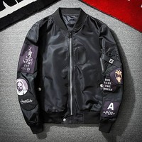 Ma1  Bomber Jacket Embroidery Pilot Jacket Long Sleeve Black