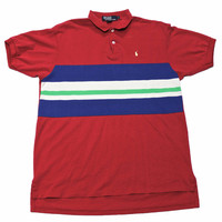 Vintage 90s Pink Polo by Ralph Lauren Striped Polo Shirt Made in USA Mens Size Large