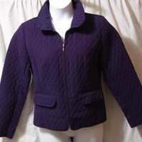 Quilted Jacket, Purple Plum , Zip Front, Size L Large, Christopher Banks, Fall Winter, Back to School