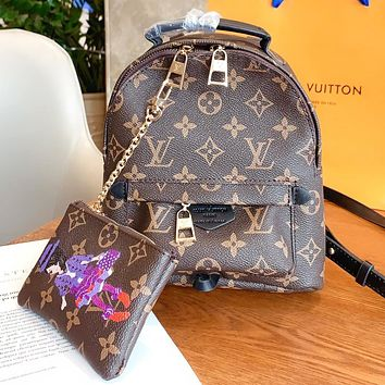 LV Louis Vuitton New fashion monogram leather shopping and leisure book bag backpack bag handbag two piece suit