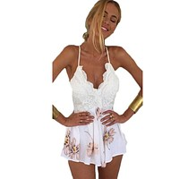 Sexy Spaghetti Strap Chiffon Floral Print Playsuit Backless Lace Patchwork Jumpsuit Rompers Boho Summer Short Overalls 40*N651