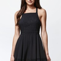 Kendall & Kylie Crisscross Back Embroidered Apron Dress - Womens Dress - Black