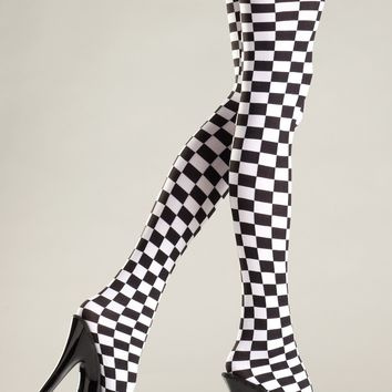 Checkered Thigh Highs