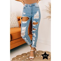 Hooked On A Feeling Distressed Boyfriend Jeans (Light Denim)