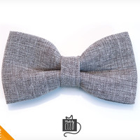 """Pet Bow Tie - """"Connery"""" - Gray Suiting Style Detachable Bowtie for Cats + Dogs"""