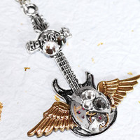 Steampunk Necklace - Wing GUITAR & BULOVA Silver Vintage Watch Movement Music Men Steampunk Necklace - Christmas Gift for Him
