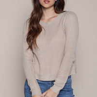 BEIGE PERFORATED CHUNKY KNIT SWEATER