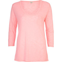 River Island Womens Pink low scoop neck t-shirt