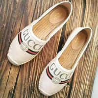 GUCCI New Fashion Letter Stripe Print Weave Lazy Shoes Women