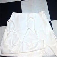 SWEET LORD O'MIGHTY! LEATHER KITTY SKIRT IN WHITE