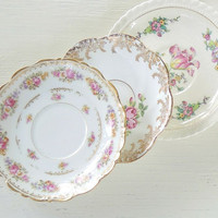 Gorgeous Cottage Chic Mismatched Saucers Set of 4 Tea Party Wedding Cottage Style Instant Wall Decor Vintage Replacement China