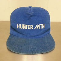 Vintage Hunter Mountain Blue Corduroy Snapback Hat Made In USA Skiing Snowboarding Tourist Cap