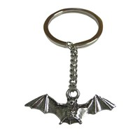 Silver Toned Textured Bat Pendant Keychain