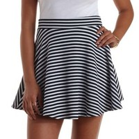 Navy Combo Textured Striped Skater Skirt by Charlotte Russe
