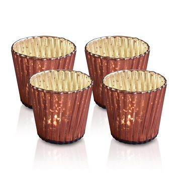 4 Pack | Vintage Mercury Glass Candle Holders (3-Inch, Caroline Design, Vertical Motif, Rustic Red Copper) - For use with Tea Lights - Home Decor, Parties and Wedding Decorations