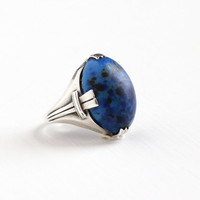 Vintage Sterling Silver Simulated Lapis Lazuli Ring - Size 6 3/4 Art Deco 1930s Marbled Blue Oval Cabochon Stone Statement Geometric Jewelry