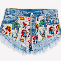 RWDZ x MARVEL Icons Studded Shorts