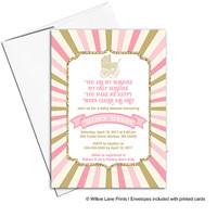 You are my sunshine baby shower invitations for girls | pink and gold baby shower invites baby carriage | printable or printed - WLP00786