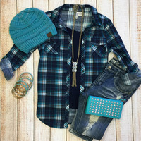Penny Plaid Flannel Top: Blue/Teal
