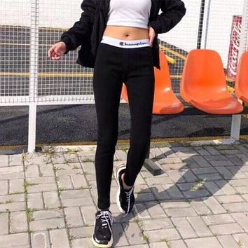 """""""Champion"""" Women Fashion Letter Print Stretch Thickened Leggings Sweatpants Tight Yoga Pants Trousers"""